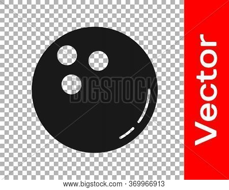 Black Bowling Ball Icon Isolated On Transparent Background. Sport Equipment. Vector Illustration