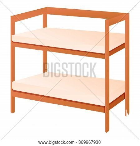 Rest Bunk Bed Icon. Cartoon Of Rest Bunk Bed Vector Icon For Web Design Isolated On White Background