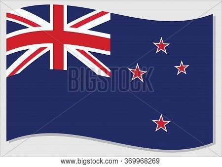 Waving Flag Of New Zealand Vector Graphic. Waving New Zealander Flag Illustration. New Zealand Count