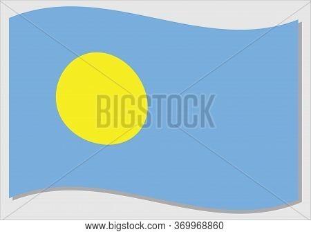 Waving Flag Of Palau Vector Graphic. Waving Palauan Flag Illustration. Palau Country Flag Wavin In T
