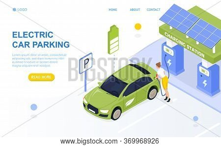 Electric Cars Parking. Charging Station. Attractive Girl Is Charging The Car. Vehicle On Lithium-ion