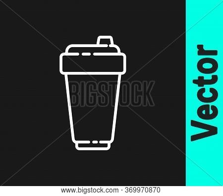 White Line Fitness Shaker Icon Isolated On Black Background. Sports Shaker Bottle With Lid For Water