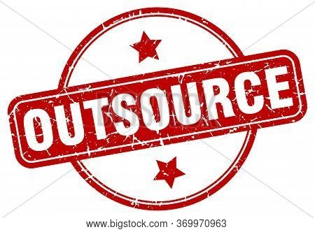 Outsource Stamp. Outsource Round Vintage Grunge Sign. Outsource