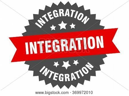 Integration Sign. Integration Circular Band Label. Round Integration Sticker