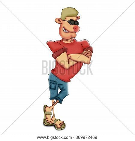 Cool Dude In Sunglasses And A Red T-shirt. Illustration On A White Background.