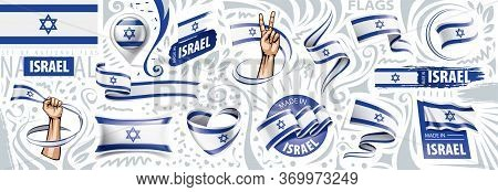 Vector Set Of The National Flag Of Israel In Various Creative Designs