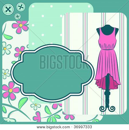 Fashionable dress with flowers and ornaments on the background. Vector
