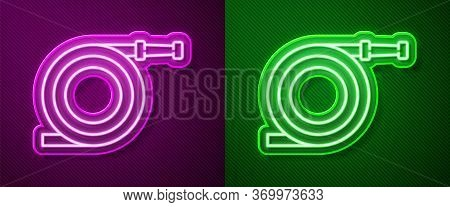 Glowing Neon Line Garden Hose Or Fire Hose Icon Isolated On Purple And Green Background. Spray Gun I