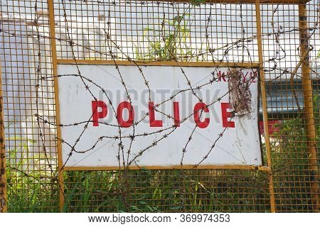 India Police Traffic Barricades On The Side Of The Road