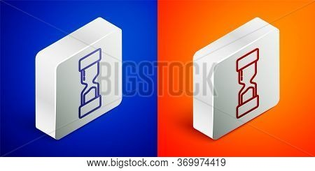 Isometric Line Old Hourglass With Flowing Sand Icon Isolated On Blue And Orange Background. Sand Clo