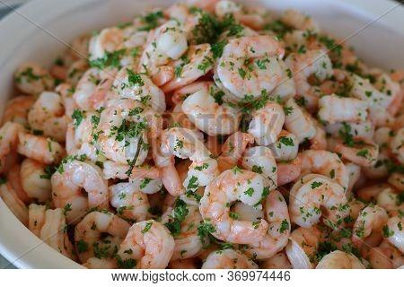 Poached Pealed Shrimps (prawns) In A Ceramic Bowl