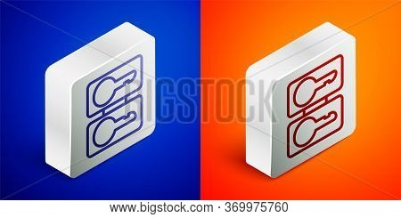 Isometric Line Metal Mold Plates For Casting Keys Icon Isolated On Blue And Orange Background. Set F
