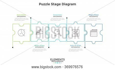 Horizontal Chart With 5 Connected Jigsaw Puzzle Pieces. Concept Of Five Dependent Components Or Part