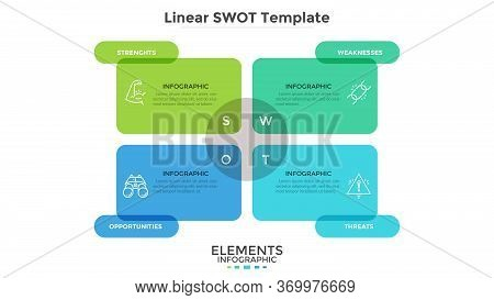 Swot Chart With 4 Colorful Translucent Rectangular Elements. Diagram For Analysis Of Threats, Weakne