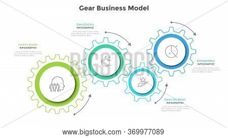 Business Model With 4 Paper White Gear Wheels. Concept Of Coordinated Work, Mechanical Process, Func