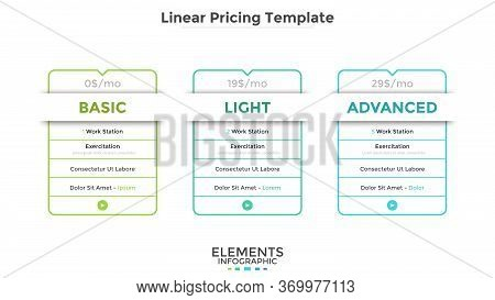 Linear Rectangular Pricing Tables Or Cards With List Of Included Options. Light, Basic And Advanced