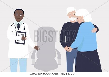An Elderly Woman At The Doctor's Appointment. The Husband Takes Care Of His Wife And Supports Her. T