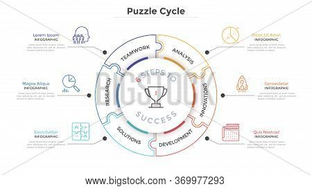 Modern Circular Diagram Divided Into 6 Jigsaw Puzzle Pieces. Concept Of Six Steps To Business Succes