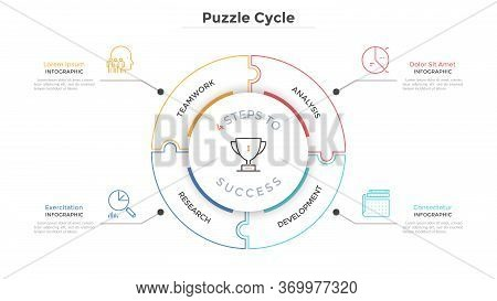 Modern Circular Diagram Divided Into 4 Jigsaw Puzzle Pieces. Concept Of Four Steps To Business Succe