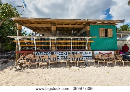 Coki Point, St. Thomas, U.s. V. Islands (usvi) - April 30, 2019: Cafe On The Tropical Coki Point Bea