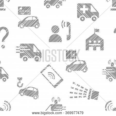 Emergency Service, Seamless Pattern, Monochrome, Hatching, White, Vector. Emergency Medical And Fire