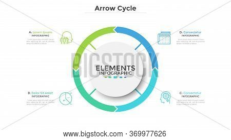 Circular Diagram Divided Into 4 Colorful Arrow-like Parts. Concept Of Four Stages Of Cyclic Process.