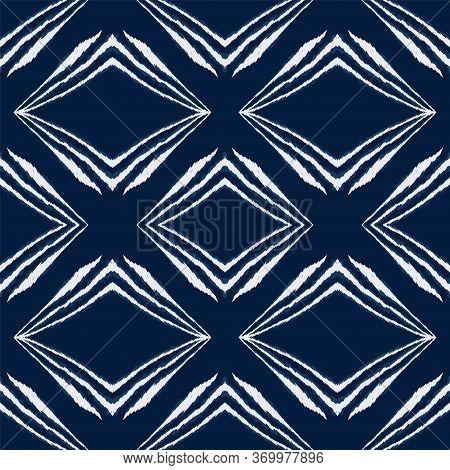 Cold Shibori Bohemian Vector Seamless Pattern. Indonesian Boho Tile Wallpaper. Rustic Japanese Desig