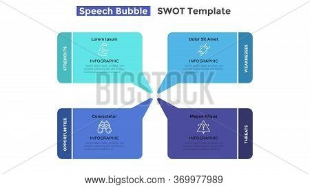 Swot Chart With 4 Colorful Speech Balloons. Concept Of Strengths, Weaknesses, Threats And Opportunit