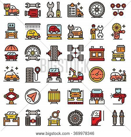 Tire Fitting Icons Set. Outline Set Of Tire Fitting Vector Icons For Web Design Isolated On White Ba