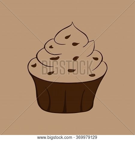Chocolate Cupcake Isolated. Single Object. Vector Hand-drawn Illustration