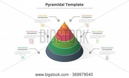 Cone Or Round Pyramid Divided Into 6 Colorful Layers Or Parts. Concept Of Six Levels Of Business Gro