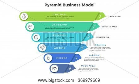Inverted Pyramid Divided Into 6 Colorful Parts Or Layers. Concept Of Six Stages Or Steps Of Business