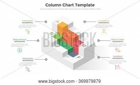 Six Cubic Columns Or Levels To Compare. Concept Of 6 Stages Or Steps Of Modern Business Strategy Pla