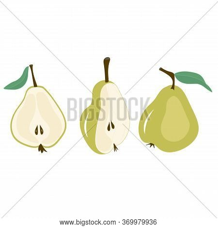 Line Art Set Of Pear Vector Illustration Pear Stroke Icons, Fruits Icons On White Background, Isolat