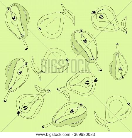 Line Art Pattern Of Pear Vector Illustration Pear Stroke Icons, Fruits Icons On Green Background, Is