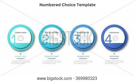 Horizontal Row Or Timeline With Four Circular Paper White Elements. Concept Of 4 Successive Steps Of