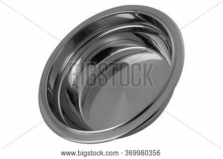 Shiny Stainless Steel Bowl, As If Flying, On A White Background, Modern Dishes