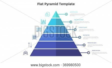 Segmented Pyramidal Chart With Six Colorful Stages Or Levels. Concept Of 6 Steps Of Business Analysi