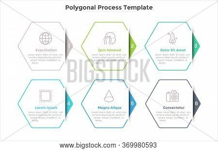 Progress Bar Or Process Chart With Six Hexagonal Paper White Elements. Concept Of 6 Successive Steps
