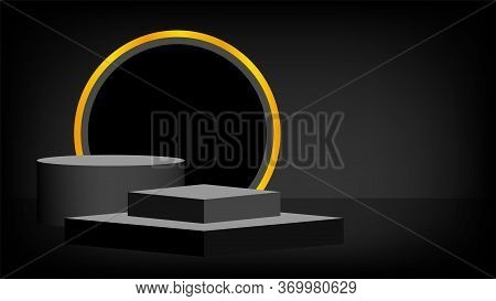 Black Stage Pedestal 3d And Stripe Gold Luxury, Pedestal Box For Cosmetics Product Display Show, Pod