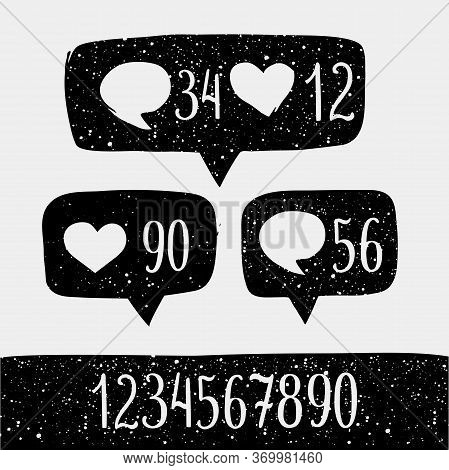 Hand Drawned Sketch Style Like Sign Icon And Set Of Number