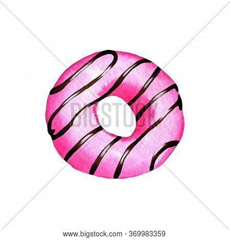 Watercolor Painted Donuts. Watercolor Donut With Pink Glaze. Watercolor Illustration Isolated On Whi