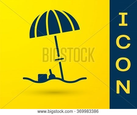 Blue Sun Protective Umbrella For Beach Icon Isolated On Yellow Background. Large Parasol For Outdoor