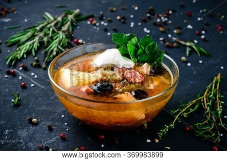 Meat Hodgepodge, Meat Soup Solyanka Soup In A Glass Bowl