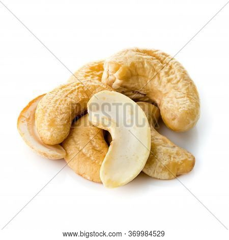 Cashews On A White Background, Cashew Nut Food Ingredient Natural Isolated