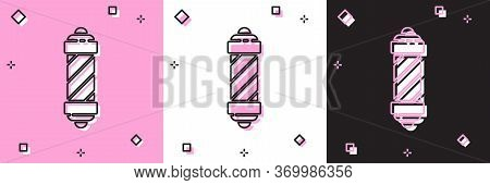 Set Classic Barber Shop Pole Icon Isolated On Pink And White, Black Background. Barbershop Pole Symb