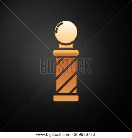 Gold Classic Barber Shop Pole Icon Isolated On Black Background. Barbershop Pole Symbol. Vector Illu
