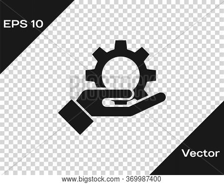 Black Hand Settings Gear Icon Isolated On Transparent Background. Adjusting, Service, Maintenance, R