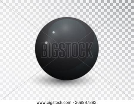 Black Clear Ball Isolated On Transparent Background. Black Vector Sphere. Round Shape, Geometric Sim