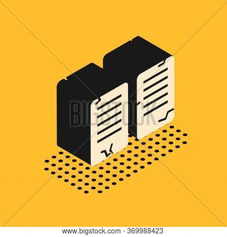 Isometric The Commandments Icon Isolated On Yellow Background. Gods Law Concept. Vector Illustration